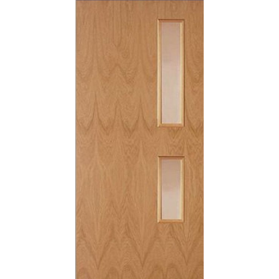 Oak Veneer Bookmatched Fire Door (Glazed)